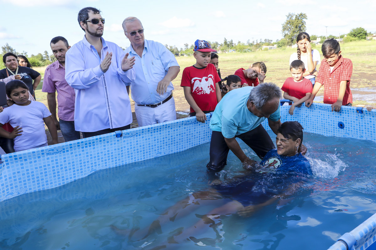Pastors and world movers Kenth and Pablo Johansson look on as Luciano is baptized Star of Hope