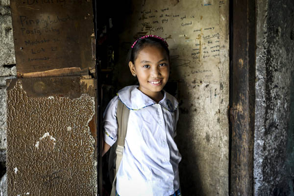 One of the 1,800 students at Hope's Star School in Taytay, the Philippines,